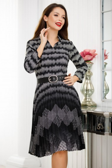 Rochie Kenya gri plisata cu imprimeu negru