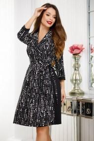 Rochie de zi midi Ejolie neagra cu imprimeu alb si fusta plisata in lateral