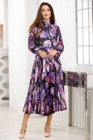 Rochie Faye neagra din voal plisat cu imprimeu lila si mov