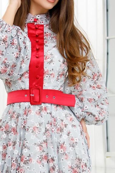 Rochie Timea bleu din voal brodat si imprimat cu flori rosii