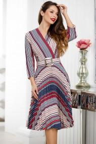 Rochie de zi midi Ejolie ivoar plisata cu dungi bleumarin si rosii
