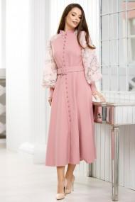 Rochie Kimora roz prafuit cu maneci bufante cu flori aplicate