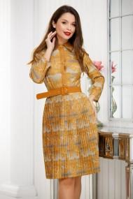 Rochie Judy galben mustar cu fusta plisata