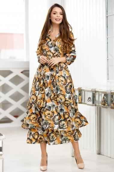 Rochie Emiliana galbena cu imprimeu floral gri