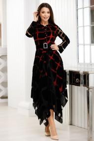 Rochie Fernanda neagra din catifea cu jupa rosie