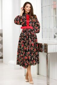 Rochie Timea neagra din voal brodat si imprimat cu flori rosii