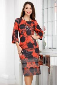 Rochie de zi midi Ejolie caramizie cu imprimeu negru