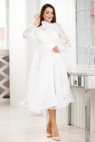 Rochie Olivia alba din dantela cu funda maxi decorativa