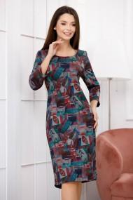 Rochie de zi midi Ejolie cu frunze bordo imprimate