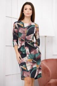 Rochie de zi midi Ejolie cu imprimeu geometric verde si maro