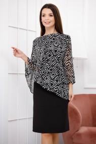 Rochie de seara midi Ejolie neagra cu bluza din voal negru cu imprimeu geometric alb