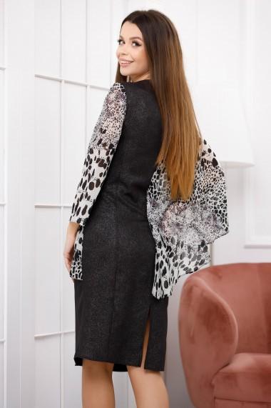 Rochie midi Fyla neagra cu bluza din voal alb cu imprimeu negru si paiete