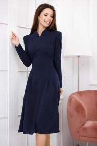 Rochie de zi midi Ejolie bleumarin cu maneci lungi si croi vintage