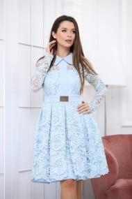 Rochie de seara midi Ejolie bleu pastel din dantela