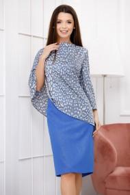 Rochie Fyla albastra cu bluza din voal gri cu imprimeu si reflexii