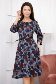 Rochie de zi midi Ejolie gri in clini cu imprimeu geometric bleumarin si bordo