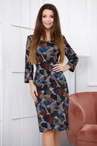 Rochie Aspen gri cu imprimeu geometric bleumarin si bordo
