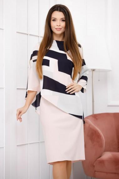 Rochie Fyla roz pastel cu bluza din voal cu imprimeu geometric
