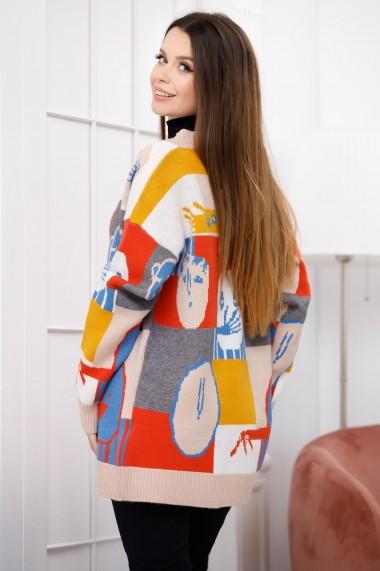 Pulover Brenna crem cu imprimeu
