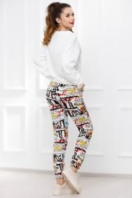 Pantaloni de trening Paper albi cu imprimeu divers