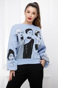 Bluza Femme albastra din bumbac cu maneci bufante