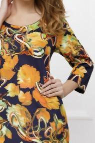 Rochie de zi midi Ejolie bleumarin cu imprimeu galben