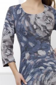 Rochie Aspen bleumarin din tricot cu imprimeu gri