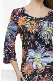Rochie Aspen neagra cu imprimeu multicolor