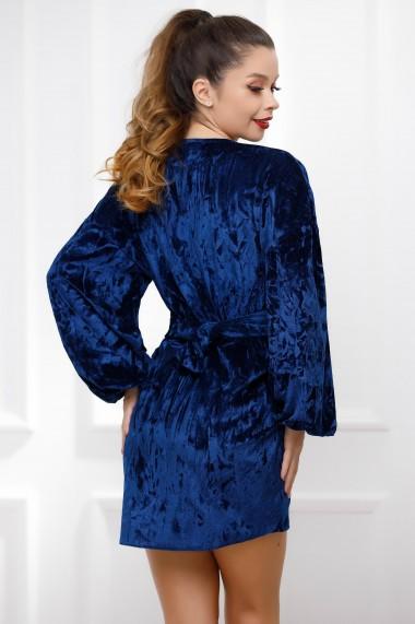 Rochie de seara scurta Ejolie bleumarin din catifea cu decolteu adanc si maneci bufante