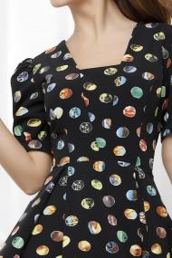 Rochie Adriena neagra cu buline colorate