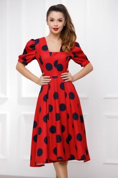 Rochie de zi midi Ejolie rosie cu buline mari bleumarin
