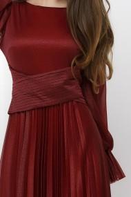 Rochie de seara lunga Ejolie bordo din voal cu sclipici