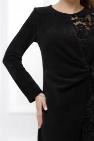 Rochie Alana neagra din catifea reiata si dantela cu aspect petrecut