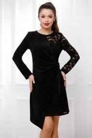Rochie de seara scurta Ejolie neagra din catifea reiata si dantela cu aspect petrecut