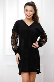 Rochie de zi midi Ejolie neagra din catifea reiata cu maneci din dantela