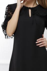 Rochie Begonia neagra cu maneci din dantela