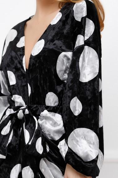 Rochie scurta Ejolie neagra cu buline argintii din catifea cu decolteu adanc si maneci bufante