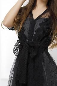 Rochie Briana neagra din tull cu dantela si jupa argintie din lurex