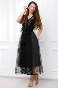 Rochie lunga Ejolie neagra din tull cu dantela si jupa argintie din lurex
