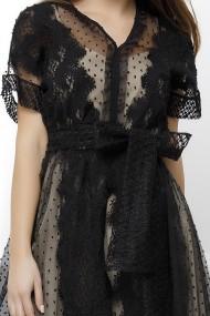 Rochie Briana neagra din tull cu dantela si jupa crem din lurex