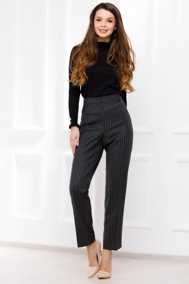 Pantaloni Violeta gri inchis cu dungi