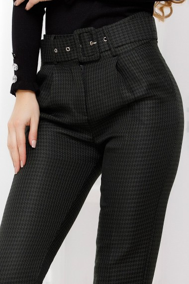 Pantaloni Viviana kaki inchis cu model pepit