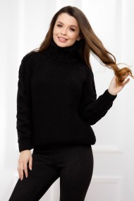 Pulover Alina negru din tricot cu guler inalt
