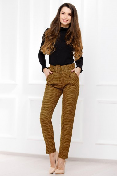 Pantaloni Viviana mustar cu imprimeu pepit