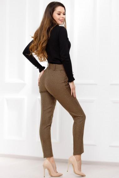 Pantaloni Viviana maro cu imprimeu pepit