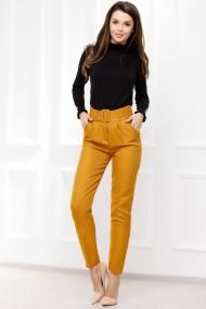 Pantaloni Viviana galben-mustar din stofa