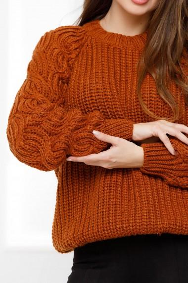 Pulover Brigita maro din tricot cu torsade pe maneci