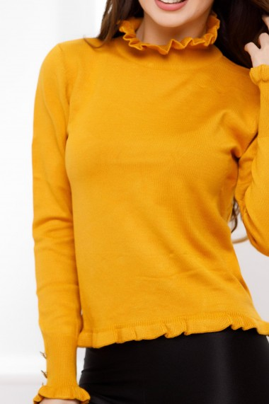 Pulover Alida galben mulat cu nasturi decorativi