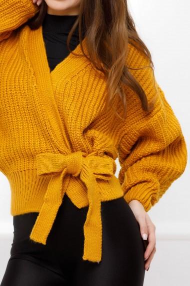 Pulover Bucura galben-mustar din tricot cu funda