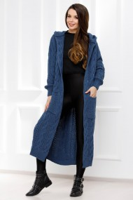 Jacheta maxi Briana albastru-petrol din tricot cu torsade si gluga